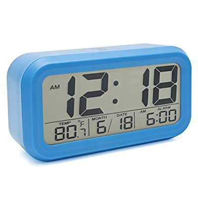 JCC Automatic Night Glow Smart Light-activated Sensor Bedside Digital Snooze Alarm Clock with Date and Temperature Display