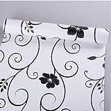 JINZAI Pvc wasserdicht Tapete wand Selbstklebende gesichert Küche Badezimmer Schlafzimmer 0,45 * 10 m, 45 breit, 10 m, schwarz auf weiß blumen, extra große