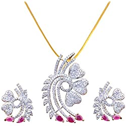 Sitashi Fashion Jewellery Gold Plated AD, American Diamond Big Size Pendant Set for Girls and Women