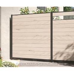 bambus-discount.com Kunststoffzzaun, WPC System Set sand mit 178x183cm - Sichtschutz, Sichtschutz Elemente, Sichtschutzwand, Windschutz, Sichtschutzzäune