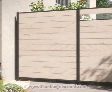 *bambus-discount.com Kunststoffzzaun, WPC System Set Sand mit 178x183cm – Sichtschutz, Sichtschutz Elemente, Sichtschutzwand, Windschutz, Sichtschutzzäune*