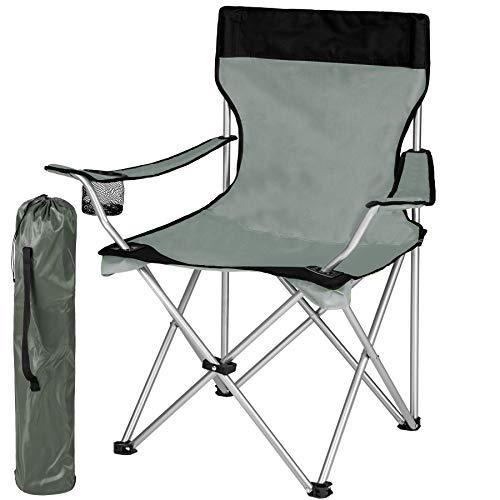 Tectake sedia pieghevole da campeggio - con borsa - disponibile in diversi colori e quantità - (1x nero-grigio | no. 401053)