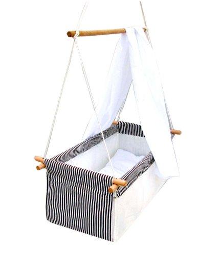 *Baby Schaukel Hängewiege Hängematte Wiege Stubenwagen Komplett-Set mit Seilen Himmelstange Himmel und Wäscheset GRAU*