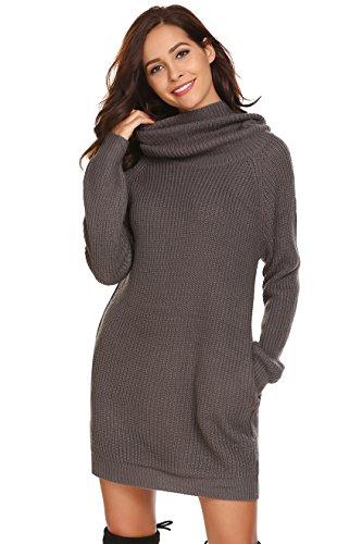 Keland Damen Elegant Strickkleid mit Rollkragen Langarm Beiläufige Lose Casual Winter Pullover Kleid, Größe XL, Farbe Grau