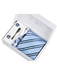 Coffret Cadeau Ensemble Cravate homme, Mouchoir de poche, épingle et boutons de manchette Rayures Bleues et Blanches