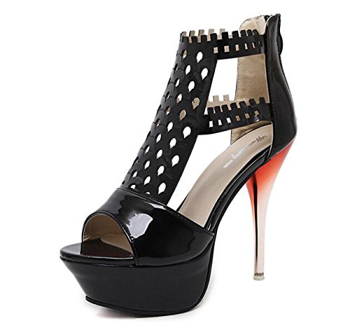 Beauqueen Sandali Eleganti Piattaforma Di Nozze PU Artificiale Hollow Hollow Stiletto Sandali Casual Nightclub Bar Black
