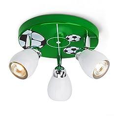 Idea Regalo - Luce Soccer soffitto a 3 luci, diametro 31 centimetri, incl. Alogena GU10 50W 3x, metallo, verde
