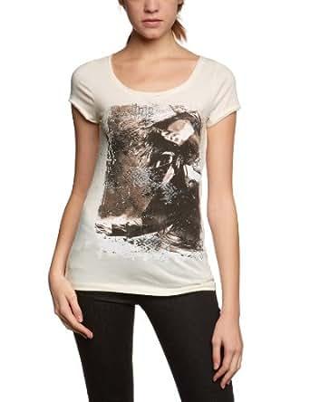 ONLY Damen T-Shirt 15071232/SKYLINE SS TOP JRS BOX WW, Gr. 34 (XS), Elfenbein (ANTIQUE WHITE Print: Face)