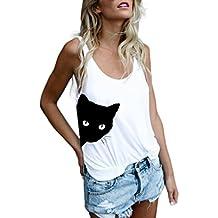 Cinnamou Top Cortos con Estampado de Gato de Mujer sin Mangas, Chaleco Deportes Camiseta de