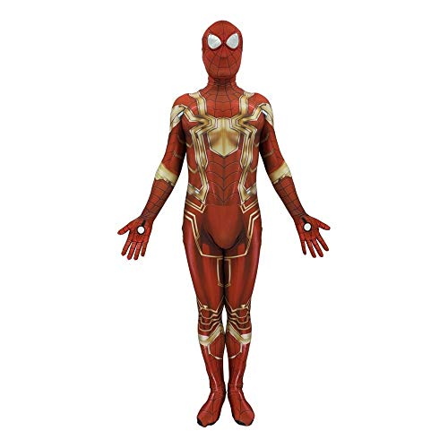 (ASJUNQ Avengers League Iron Spiderman Kostüm Anime Tights Erwachsene Thema Party Spiderman Halloween Filmrequisiten SOS-Stahlspiderman,Adult-XXXL)