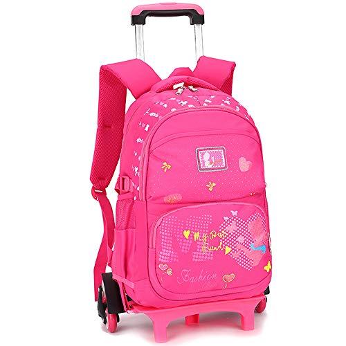 BOZEVON Vbiger Zaino - Trolley Scuola Zaino con Ruote Multi-Funzione Zaini per Bambina, rosa rossa, 6 ruote