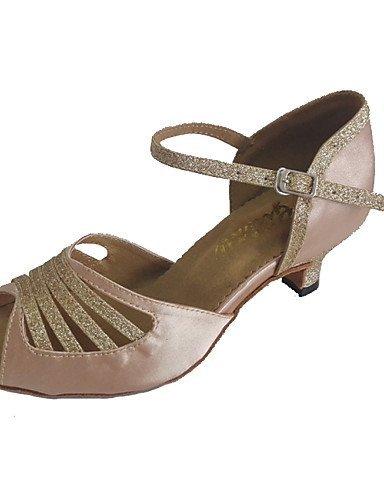 ShangYi Chaussures de danse(Noir / Autre) -Personnalisables-Talon Personnalisé-Satin / Paillette Brillante-Latine / Salsa beige
