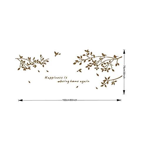 MING Birds in die Zweige mit Buchstaben Happiness is being Home Again Wiederablösbare Wandsticker Aufkleber für Wohnzimmer Coffee Shop Cafe Schlafzimmer Dekoration (Größe: 75* 150cm; Farbe: Schwarz/Weiß/Kaffee) coffee View Bird House