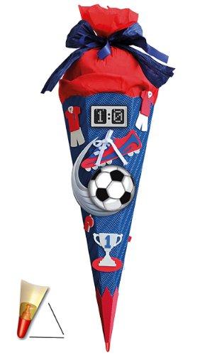 BASTELSET Schultüte - Fußball 85 cm - mit Holzspitze - Zuckertüte Roth - ALLE Größen - 6 eckig Fußballer Fussball Sport Jungen rot blau