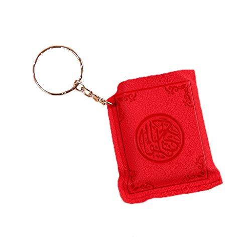 Keahup Kofun Schlüsselanhänger, kreativer Mini-arabischer Koran Buch-Schlüsselanhänger, PVC, Aufbewahrungstasche, süßes DIY Kunst Basteln Schlüssel Dekor Jahr Rot
