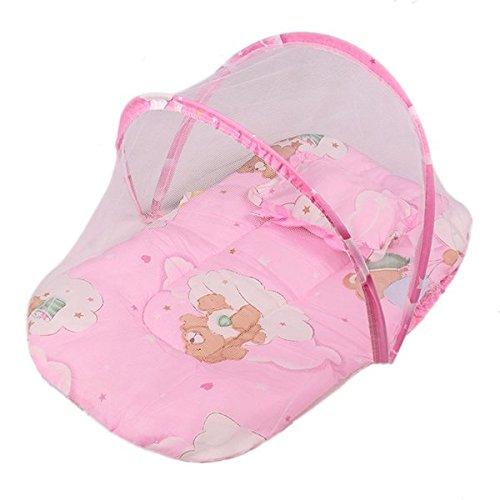 Sand's Clover-- 0-6M pieghevole del bambino zanzariera, portatile Lettino da viaggio-letto, bambino zanzara del baldacchino Anti-Bug Presepe Rete, letti tenda con materasso, cuscini e cuscini (rosa)