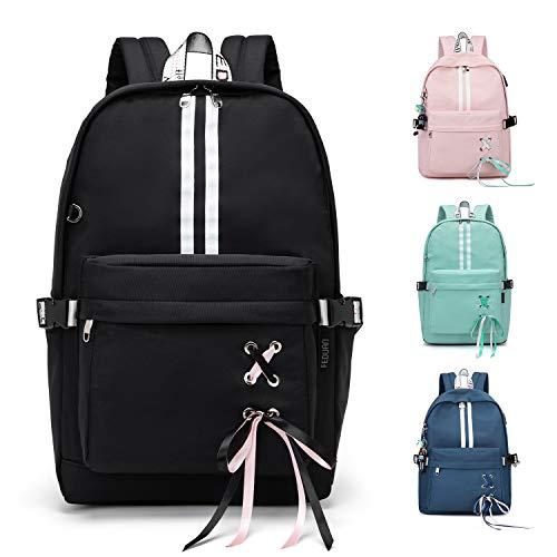 FEDUAN Campus Rucksack Daypack Schultasche Schulrucksack Studententasche Laptop-Rucksäcke mit USB/Kopfhörer Anschluss Tagesrucksack modisch Reiserucksack Mädchen Jungen Teenager groß 18L (M4 schwarz)