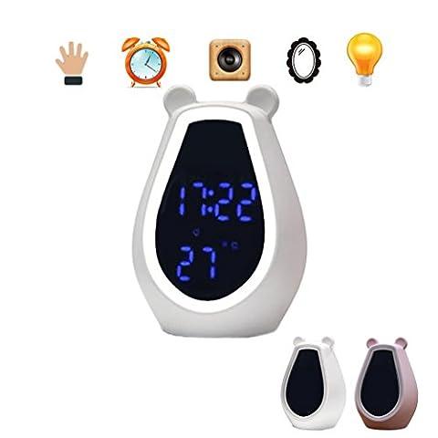 Ssfw intelligent Voice Control, contrôle tactile LED Miroir de maquillage, bureau Maquillage Miroir lumineux, rechargeable bébé lumière de nuit, réveil Snooze Réveil, mignon Ours Bluetooth sans fil Lecteur de musique - blanc