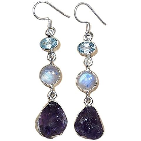 Natural Amethyst Moonstone Blue Topaz Earrings Handmade Sterling Silver Drop Shape Birthday Gift 2.1