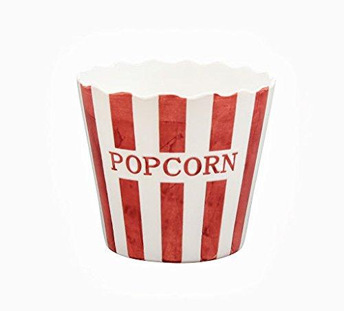 Krasilnikoff Popcorn Schale, Schüssel - Rot mit weißen Streifen - Stripe - Keramik - Höhe: 16 - Schüssel Popcorn,