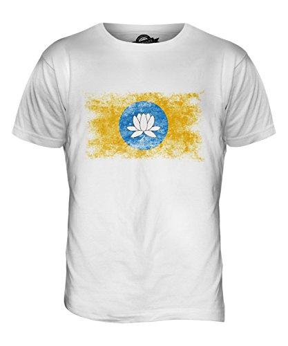 CandyMix Calmucchia Bandiera Effetto Consumato T-Shirt da Uomo Maglietta Bianco