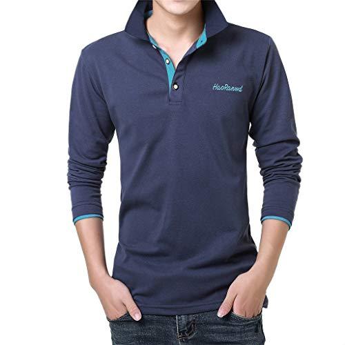 VWsiouev Herren Polo Shirts Lässige Langarm Golf Shirts Dry Fit Sportliches T-Shirt Umlegekragen Lässige Knopfleiste - Washed Pique Polo Shirt