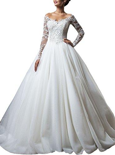 Changjie Damen Langarm Brautkleider Hochzeitskleider Prinzessin Off-Schulter SpitzeApplique...