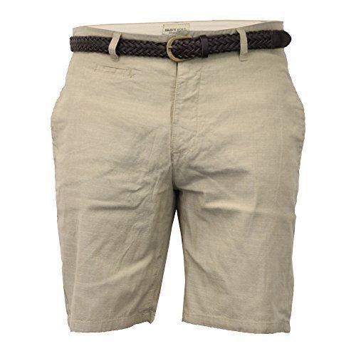 Threadbare Da Uomo Chambray Con Cintura Brave Soul Chino Pantaloni Corti Bermuda Al Ginocchio - Grigio sabbia - HAVANA, Large