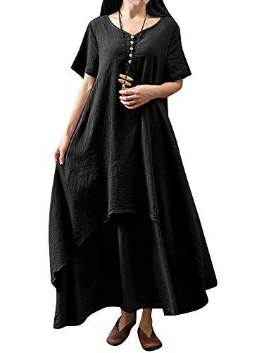 Romacci Damen Beiläufige Lose Kleid Fest Langarm Boho Lang Maxi Kleid S-5XL Schwarz/Weiß/Rot/Gelb (Schwarz-Kurzarm, 3XL) -