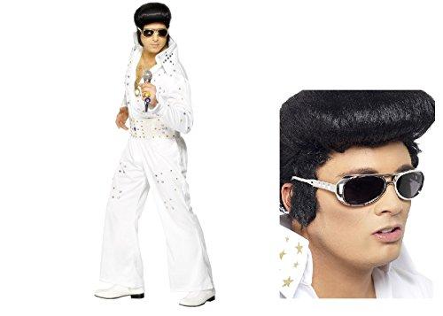 Kostüm Elvis Vegas - Elvis Presley Erwachsene Fancy Kleid Kostüm mit Jewels, weiß, Overall mit Gürtel Hirsch Vegas King of Rock n Roll kostenlos Elvis Shades