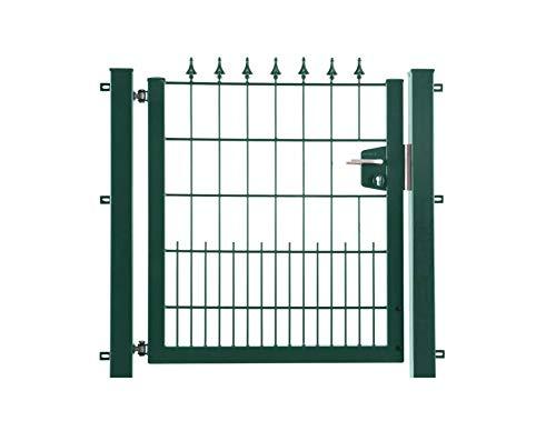 Arvotec Gartentor/Schmucktor Lilie, RAL 6005 grün, BxH:1200x1200mm, verzinkt und pulverbeschichtet - mit passenden Anschlussstücken für Stabmattenzäune