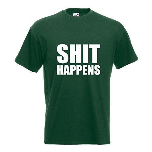 KIWISTAR - Shit Happens T-Shirt in 15 verschiedenen Farben - Herren Funshirt bedruckt Design Sprüche Spruch Motive Oberteil Baumwolle Print Größe S M L XL XXL Flaschengruen