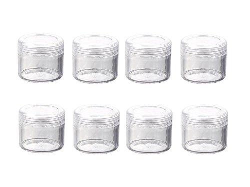 24 PCS 20G Rond En Plastique Transparent Voyage Rechargeable Cosmétique Bocaux Flacons Bouteilles Maquillage Cas Titulaire Conteneur De Stockage pour Crème Lotion Poudre Masque Facial (Transparent)