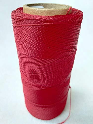 LINHASITA Bobina Hilo Encerado 100gr / 360 Metros 0,5 mm de Grosor Poliester Macrame 30 Colores (Rojo)