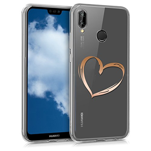 kwmobile Huawei P20 Lite Hülle - Handyhülle für Huawei P20 Lite - Handy Case in Rosegold Transparent