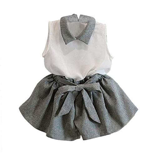 Set Kurzer Arm (Sunday Mädchen Lace T-Shirt + Streifen Shorts Set Kleidung Anzug kurzer Arm Shirt Baby Kleider Spitze Bowknot Kurzarm (Grau, Alter: 3-4J))