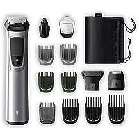 Philips Barbero MG7720/15 Recortador de barba y pelo, óptima precisión, 14 en 1 tecnología Dualcut, autonomía de 120 minutos, batería, Negro/Plata