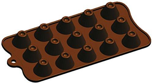 Moule en Silicone 20 x 10 x 2 cm Cône en Silicone avec Trou Chocolat Gelée Glace Gâteau Savon 15-Cavity Moule, Marron