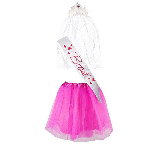 """(Partybob JGA-Kostüm """"Braut"""" - Junggesellinnenabschied-Verkleidung (38-44, Weiß/Pink))"""