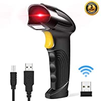 Goodstuffshop Wireless Barcode Scanner 2-in-1 2.4GHz Wireless & USB 2.0 Wired USB Automatic Barcode Reader Handheld Bar Code Reader USB Rechargeable Bar Code Hand Scanner for Computer POS Laptop