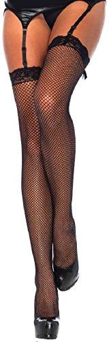 Leg Avenue Damen plus size halterlose Netz Strapsstrümpfe mit Lace Top in schwarz transparent Größe 42 bis 44 -