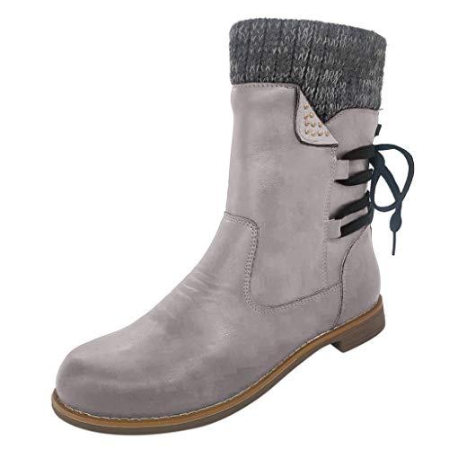 Xuthuly Frauen-Weinlese-Knit-Socken-Patchwork-Mittlere Waden-Aufladungs-Damen-Klassische Normallack-Reißverschluss-mittlere Schlauch-Schnee-Aufladungen im Freien beiläufige Niedrig-Ferse Schuhe