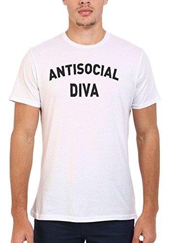Anti-Social Diva Nerd Geek Men Women Damen Herren Unisex Top T Shirt .Weiß