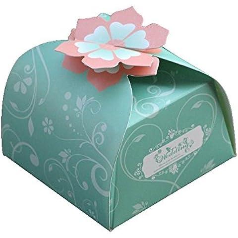 SHINA 50pcs DIY Cajas de papel para caramelos, dulces, recuerdos para la boda, fiesras muy atracdivo (Verde)