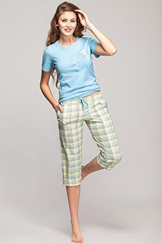 Rossli SAL-PY1011 Confortable Agréable Pyjama Manches Courtes Jambes 3. bleu ciel-vert