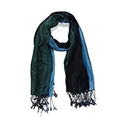 Stylezee Ombre Stripes in Beautifully Blended Colors Shawls & Stole (Blue::Dark Green)