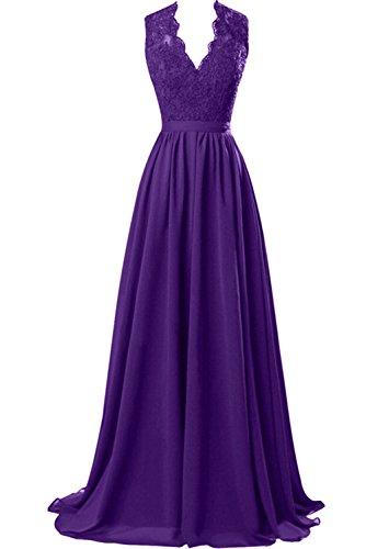 Sunvary Damen Lang Spitze Chiffon Abendkleider Neu V-Neck Mutterkleider Partykleider Violett