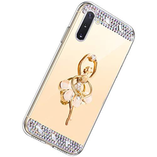 Herbests Kompatibel mit Samsung Galaxy Note 10 Handyhülle Glitzer Diamant Glänzend Spiegel Handytasche Durchsichtig Kristall Bling Schutzhülle Case mit 360 Grad Ring Ständer Halter,Gold
