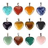 SSGUER912pz pietra a forma di cuore pendente chakra Beads DIY Crystal voce ciondoli, colori assortiti.