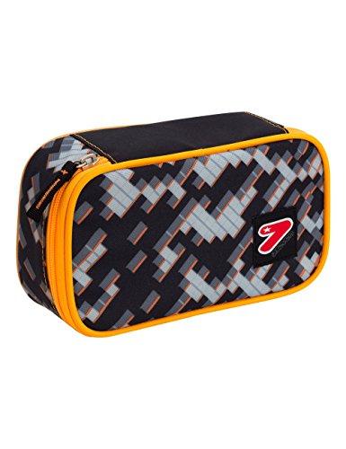 Portapenne big scuola seven the double - grey brick - arancione grigio - porta penne
